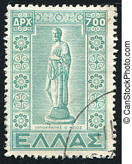 Statue of Hippocrates - GREECE - CIRCA 1950: stamp printed...