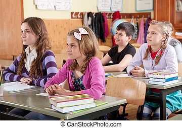 Schoolchildren at classroom during a lesson