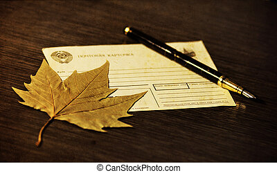 Retro postcard - Postcard pen mail leaf at the table