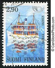 Saimaa Lake - FINLAND - CIRCA 1991: stamp printed by...