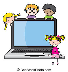children with a computer. Funny vector, isolated on white...