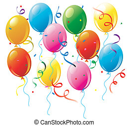 Party balloons and confetti on white - Illustration of a...