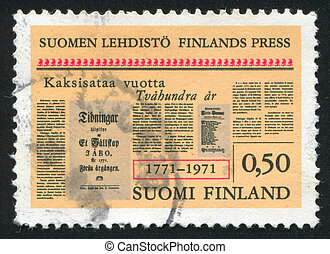 Newspaper Front Page - FINLAND - CIRCA 1971: stamp printed...