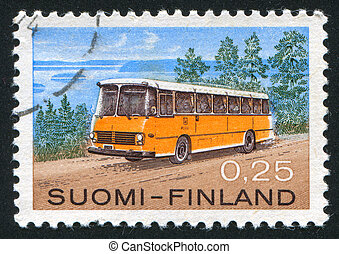 Omnibus - FINLAND- CIRCA 1971: stamp printed by Finland,...