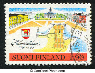 Market Place - FINLAND - CIRCA 1989: stamp printed by...