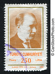 Kemal Ataturk - TURKEY - CIRCA 1992: stamp printed by...