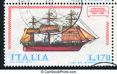 Italian Ship - ITALY - CIRCA 1977: stamp printed by Italy,...