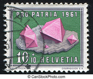 Fluorite - SWITZERLAND - CIRCA 1961: stamp printed by...