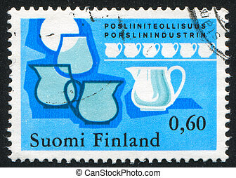 pottery - FINLAND - CIRCA 1973: stamp printed by Finland,...