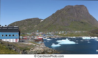 The city of Narsaq in South Greenland