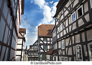 traditional houses in Marburg - traditional old German...