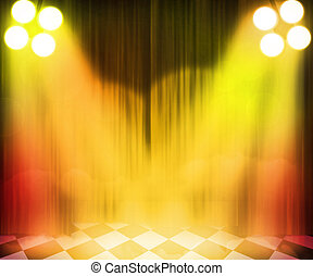 Golden Stage Spotlight Background