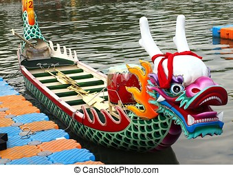 Traditional Dragon Boat in Taiwan - A richly decorated...