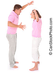 Shouting couple - A picture of a young couple arguing over...