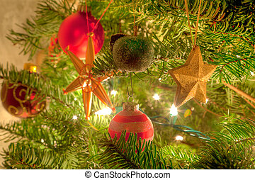Christmas tree - Christmas ornaments are decorations usually...