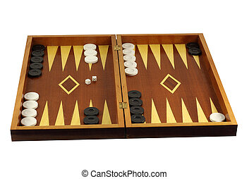 Backgammon isolated in white