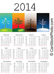 2014 Calendar with tree in all the seasons