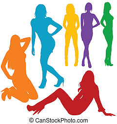 Sexy women hand drawn silhouettes