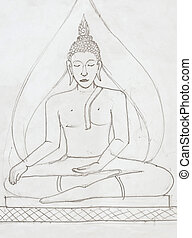 Buddha image  in pencil drawing style