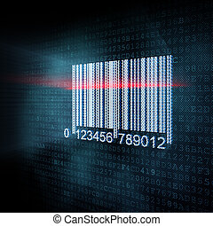 Pixeled barcode illustration, 3d render