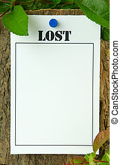 Lost Notice - Lost poster on a tree trunk - with copy space