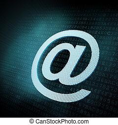 Pixeled email sign illustration