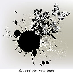 Background with ink spots and flying butterflies