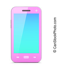 Beautiful pink smartphone on white background