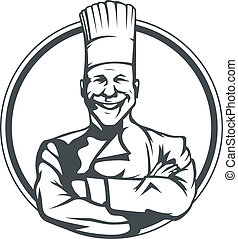smiling cook in ring vector illustration isolated on white...