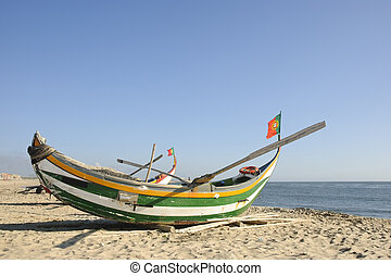 Fishing boat - Typical old portuguese fishing boat on the...