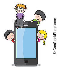children with a mobile phone Funny vector, isolated on white...