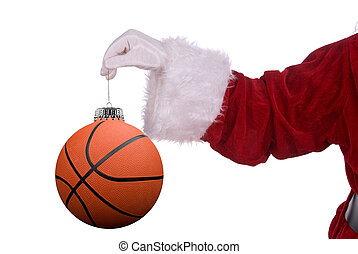 Santa Claus with basketball ornament in his white gloved...