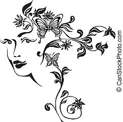 Ornamental composition - ornamental face and butterflies...