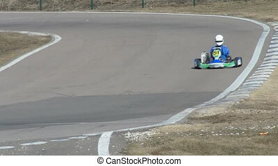 Car going on track for carting - View on track for karting