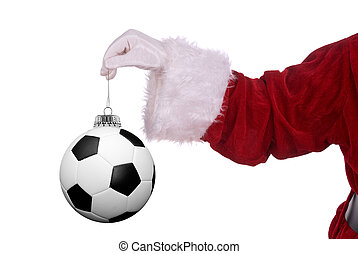 Santa Claus with soccer ornament - Santa Claus with soccer...