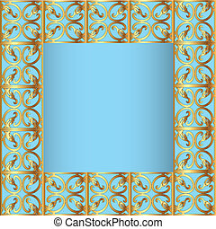 frame blue background with goldenen sample - illustrations...