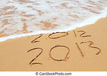 2013 year on the sand beach near the ocean. 2012 is been...