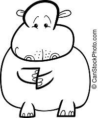 Hippo or Hippopotamus for coloring book