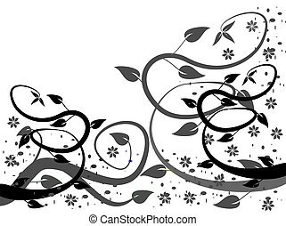 B & W Floral background - A black and white floral...