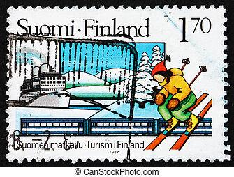 Postage stamp Finland 1987 Skier