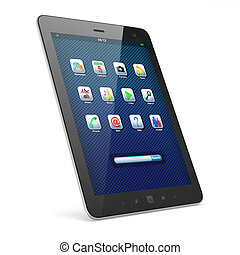 Beautiful black tablet pc on white background -...