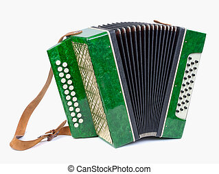 Old bayan musical instrument as accordion isolated on white...