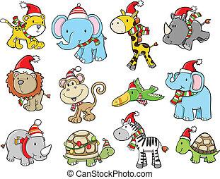 Christmas Holiday Safari vector set
