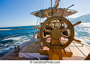 yacht journey, steering wheel