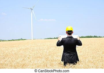 Worker on wind farm - Young worker on wind farm