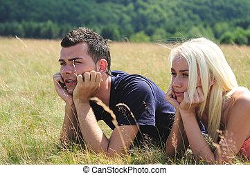 夫婦, 年輕, 自然