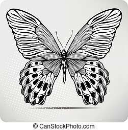 Butterfly, hand-drawing. Vector illustration