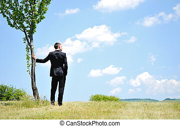 Business Man Standing - Business man standing in nature
