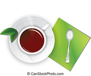 cup tea with green leaves, spoon and napkin