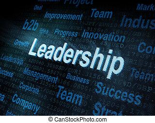 Pixeled word Leadership on digital screen 3d render
